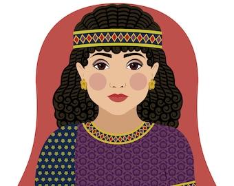 Ancient Assyrian Wall Art Print culturally traditional dress drawn in a Russian matryoshka nesting doll shape