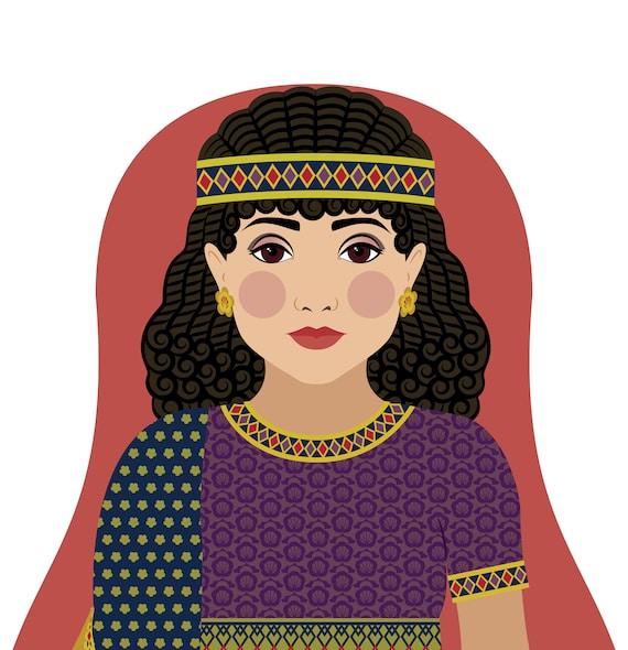 Ancient Assyrian Doll Art Print with traditional folk dress, matryoshka