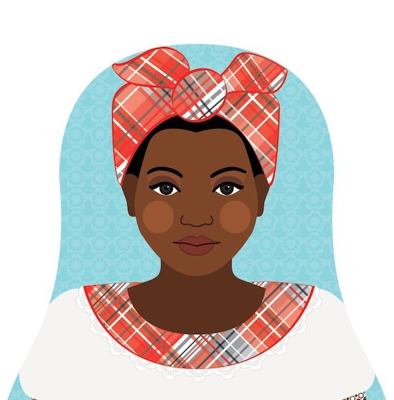 Jamaican Doll Art Print with traditional folk dress, matryoshka