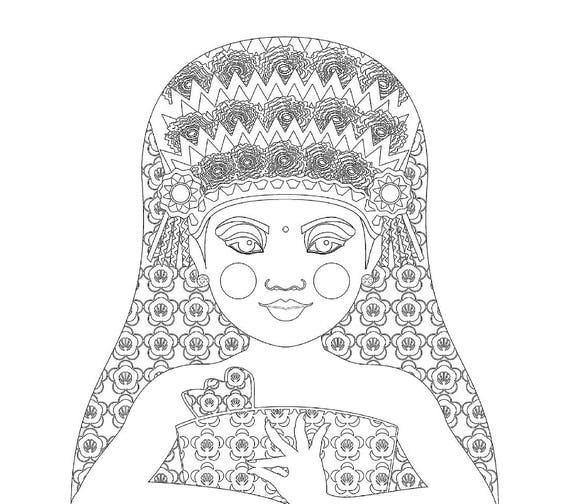 Balinese Dancer Doll Traditional Dress Coloring Sheet Printable