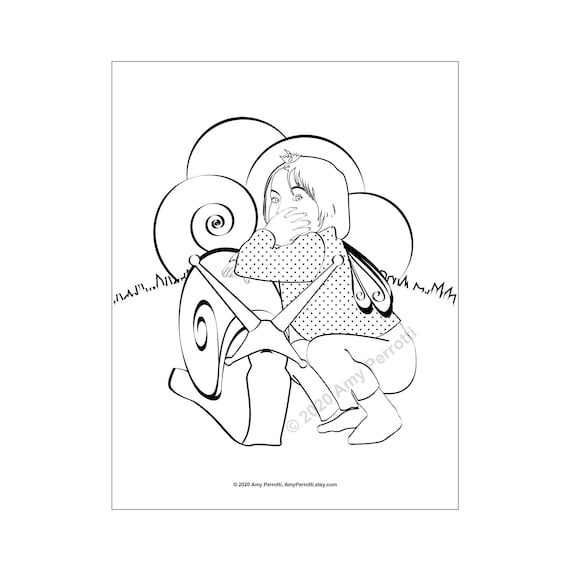 Pretend Fairy and Snail coloring page printable file