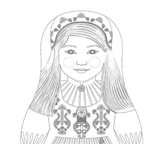 Norwegian Doll Folk Dress Coloring Sheet Printable Matryoshka