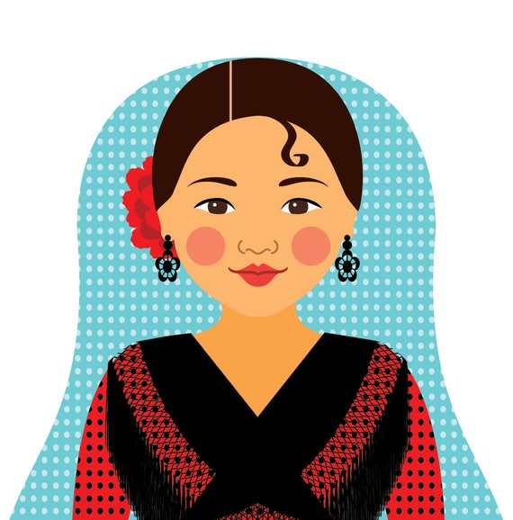 Spaniard Red Dress Art Print, traditional folk dress matryoshka