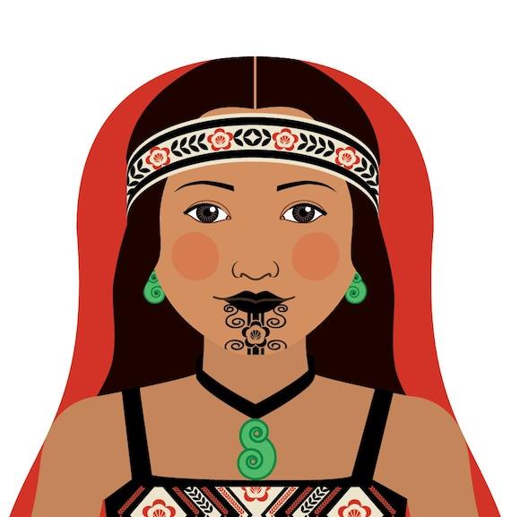 Maori New Zealand Doll Art Print, traditional dress matryoshka