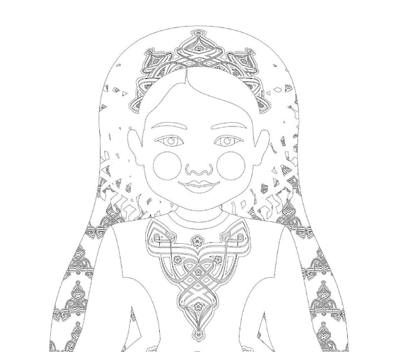 Irish Dancer Doll Traditional Dress Coloring Sheet Printable