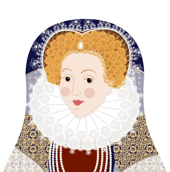 Queen Elizabeth I of England Art Print, matryoshka doll