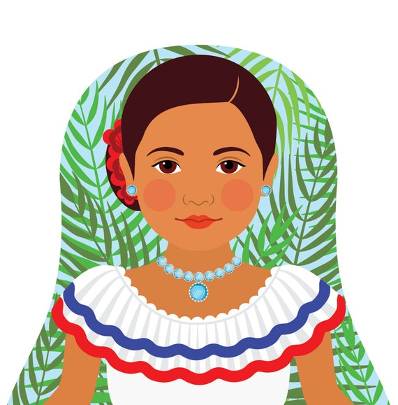 Dominican Doll Art Print with traditional dress