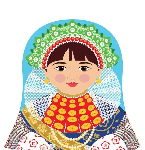 Croatian Slavonija Doll Art Print with traditional folk dress, matryoshka