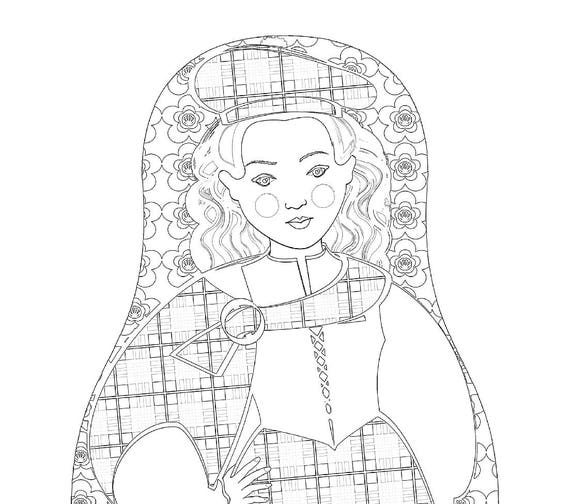 Scotswoman Doll Folk Dress Coloring Sheet Printable Matryoshka