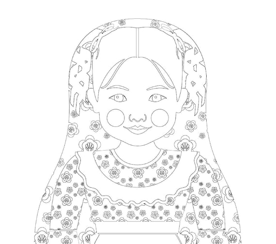 Chilean Doll Traditional Dress Coloring Page Printable Matryoshka