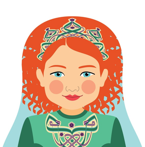 Irish Dancer Doll Art Print of traditional folk dress, matryoshka