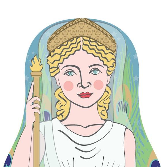 Roman Goddess Juno Doll Art Print, matryoshka