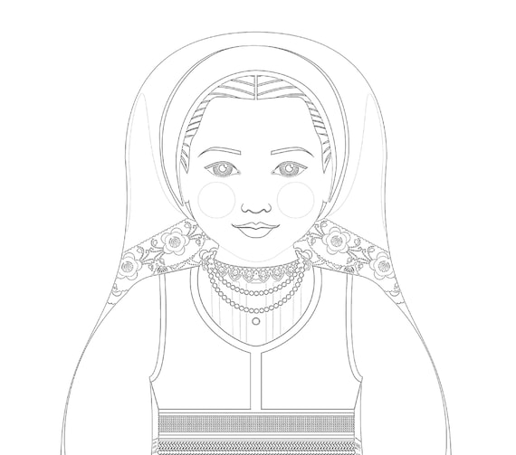 Croatian Lika Doll, Traditional Folk Dress, Coloring Sheet Printable