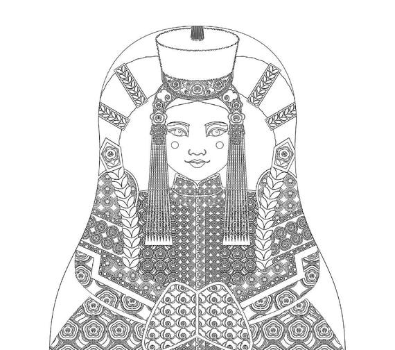 Mongolian Doll Traditional Dress Coloring Sheet Printable