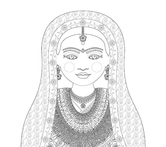 Nepalese Doll Folk Dress Coloring Sheet Printable Matryoshka