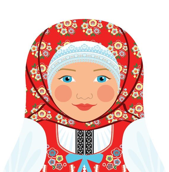 Czech Doll Art Print with traditional folk dress, matryoshka