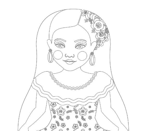 Venezuelan Doll Traditional Dress Coloring Printable Matryoshka