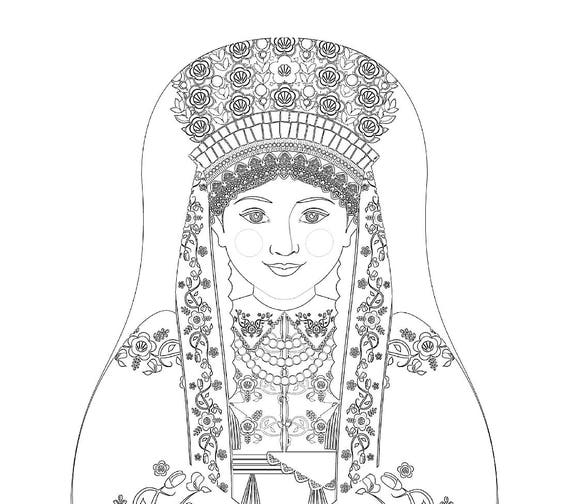 Łowicz Polish Doll Traditional Dress Coloring Sheet Printable