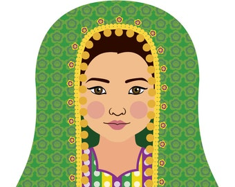 Afghan Wall Art Print featuring culturally traditional dress drawn in a Russian matryoshka nesting doll shape