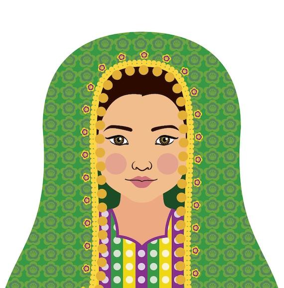 Afghan Doll Art Print with traditional folk dress, matryoshka