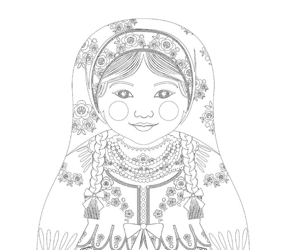 Polish Doll Traditional Dress Coloring Sheet Printable Matryoshka