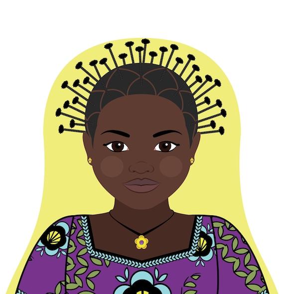 Congolese Doll Art Print with traditional folk dress, matryoshka
