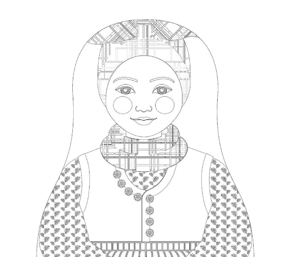 Rømø Danish Doll Traditional Folk Dress Coloring Sheet Printable