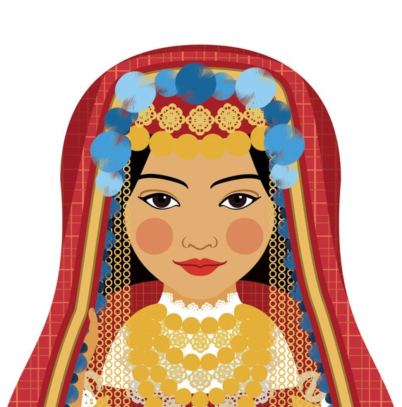 Tunisian Doll Art Print with traditional folk dress, matryoshka