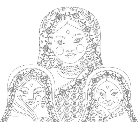 Indian Mothers and Daughters Coloring Sheet Printable file Russian Babushka Nesting Stacking Dolls