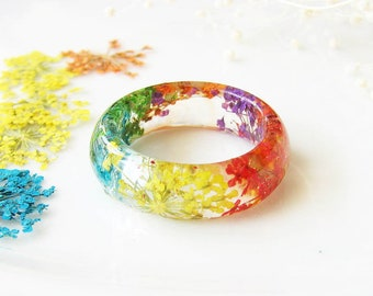 Resin Ring Real Flower Ring Resin Jewelry Pressed Flower Jewelry Rainbow Ring