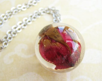 Resin Jewelry Red Rose Necklace Real Flower Jewelry Resin Necklace Orb Necklace Gift For Her
