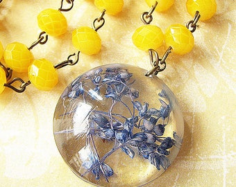 Resin Jewelry Real Flower Necklace Resin Necklace Real Flower Jewelry Yellow Necklace Blue Baby Breaths