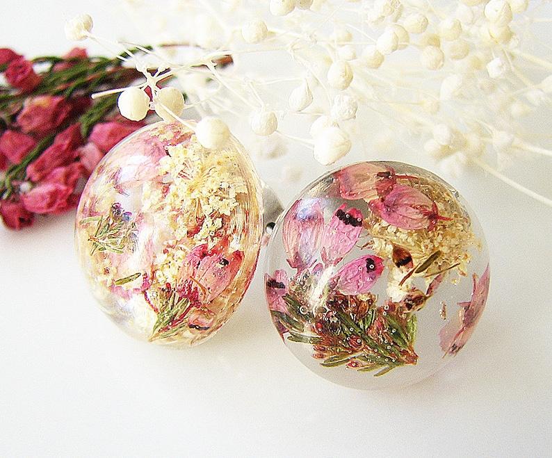 Resin Earrings Stud Earrings Resin Jewelry Real Flower Earrings Pressed  Flower Earrings Pink Heather Flower