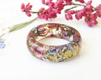 Resin Ring Real Flower Ring Resin Jewelry Forget Me Not Jewelry Pressed Flower Jewelry
