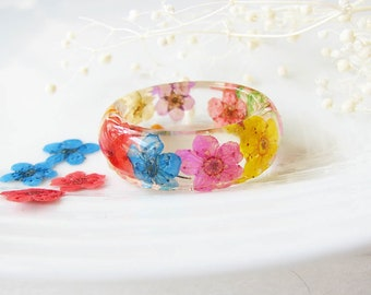 Resin Ring Real Flower Ring Resin Jewelry Botanical Jewelry Colorful Ring