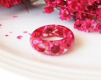 Resin Ring Stacking Ring Resin Jewelry Real Flower Ring Pink Ring Summer Jewelry