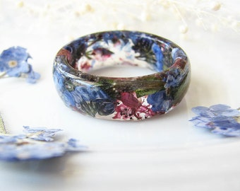 Resin Ring Real Flower Ring Resin Jewelry Forget Me Not Jewelry Heather Jewelry Pressed Flower Jewelry