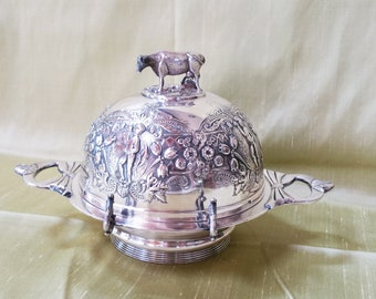 Antique COW Finial Covered Butter Dish  Silver Plated in Lovely Condition.