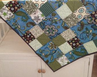 Blue, Green, Brown Block Modern Baby Quilt/ Toddler Quilt/ Girl