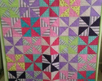 Bright Pinwheel Modern Baby Quilt/ Toddler Quilt/ Girl