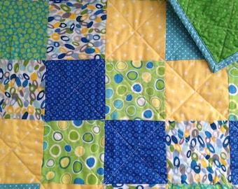 Blue, Green, Yellow Block Modern Baby Quilt/ Toddler Quilt/ Gender Neutral/ Girl/ Boy