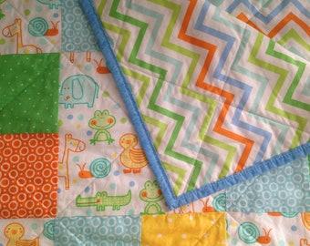 Bright Animals Block Modern Baby Quilt/ Toddler Quilt/ Girl/ Boy