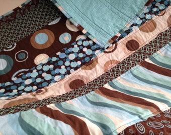Blue and Brown Stripe Modern Baby Quilt/ Toddler Quilt/ Gender Neutral/ Girl/ Boy