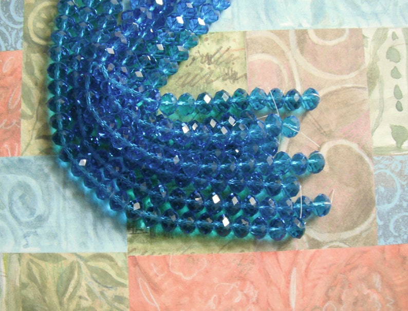 2 Aqua Blue Crystal Designer Glass Roundel Faceted Beads 10X5mm Beads 2 Strands 8 Inch Each.