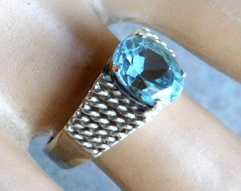 925 Oval Engagement Ring WhistlingGypsyVTG Vintage Kabana Pale Blue Topaz Filigree Ring Edwardian Style Sterling Silver Solitaire Ring