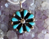 Vintage Sterling Silver and Needlepoint Turquoise Flower Pendant Necklace - Southwestern Tribal Design - Probably Zuni Native American