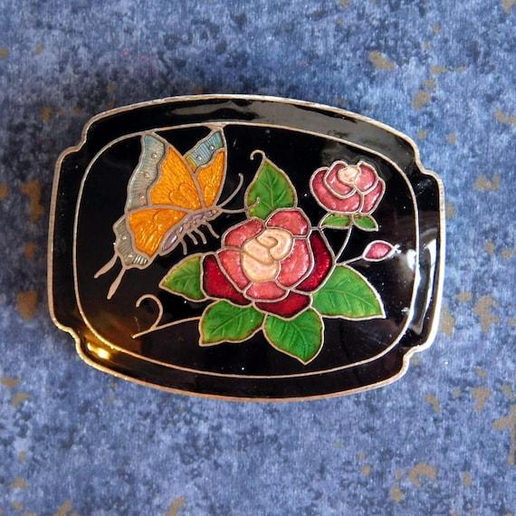 Vintage Cloisonne Circle Butterfly Floral Belt Buckle