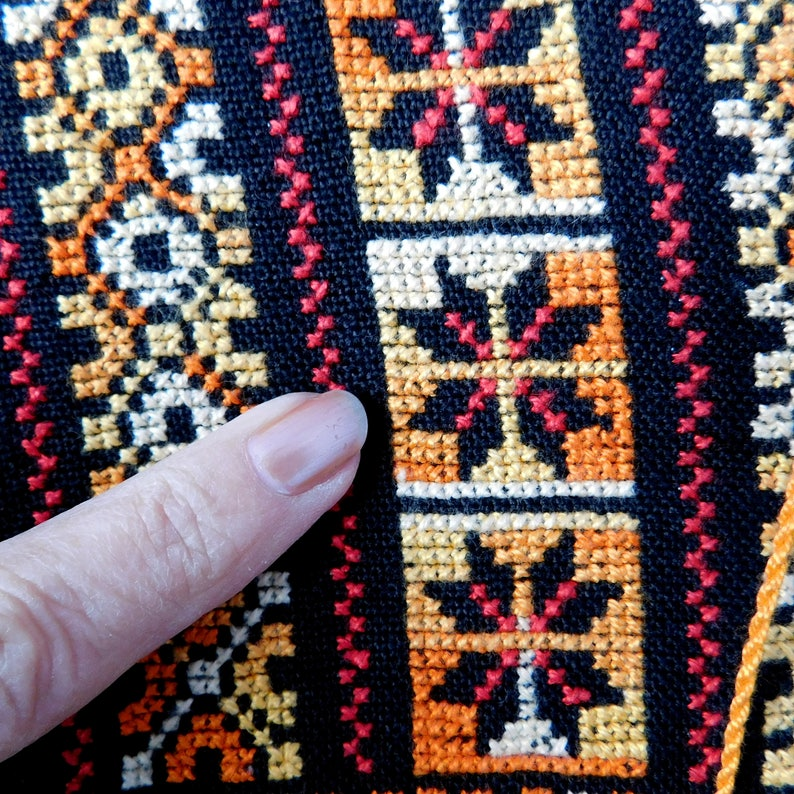 Long Sleeves Bedouin Style Middle-Eastern Vintage Cross-Stitch Caftan Handmade Orange and Gold on Black Small to Medium Size