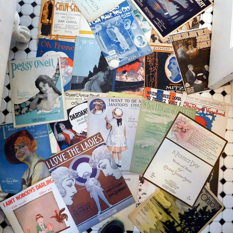 Lot of Antique Sheet Music  31 Pieces Dated from 1910s to image 0