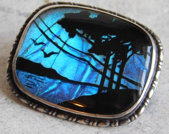Antique Victorian Morpho Sterling Silver Reverse Painted Brooch - Real Butterfly Wing - Iridescent Blue Behind Black Landscape - Nice Patina